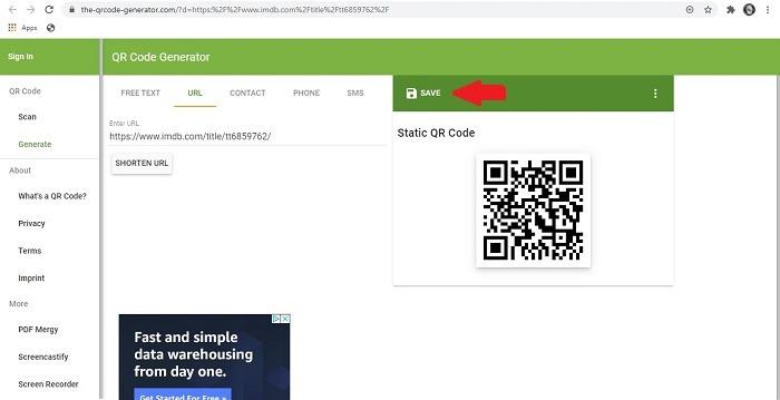 Qr-Code Chrome-Erweiterung Code speichern