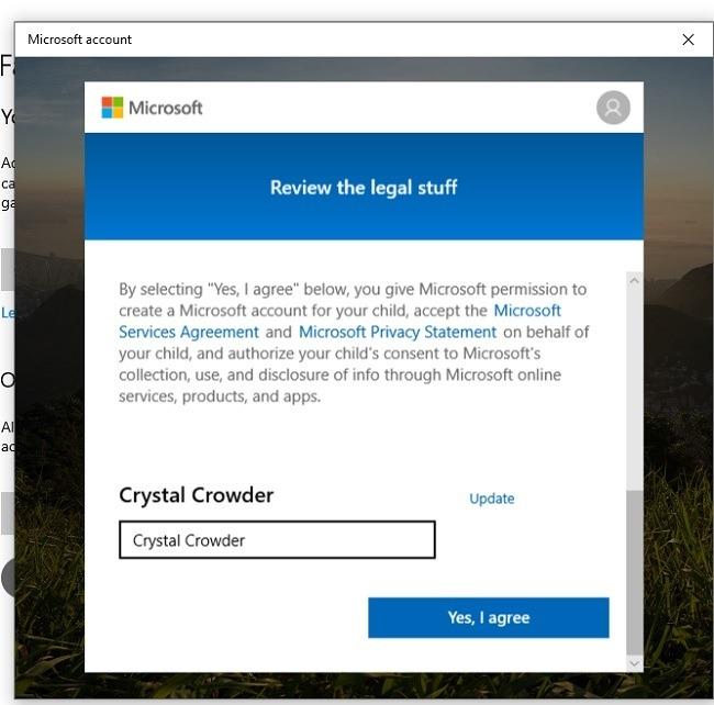 Einrichten der Sicherheitsfunktionen der Microsoft-Familie in der Windows 10-Vereinbarung