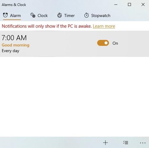 Windows10 Alarme Timer Alarme Klicken Sie auf