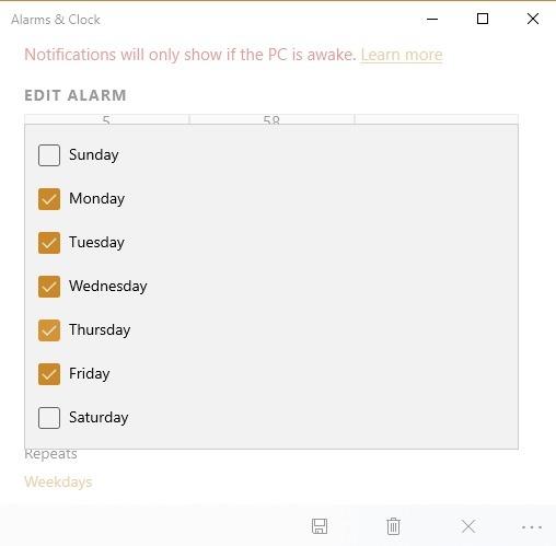 Windows 10-Alarmtimer Alarmzeitplan