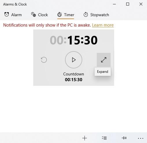 Windows 10 Alarme Timer Countdown Erweitern
