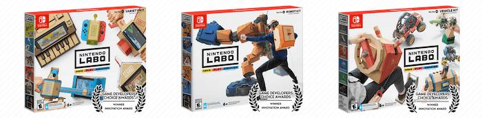 Kits für die Nintendo Labo-Plattform.