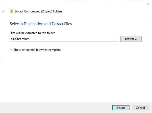 Installieren Sie Chromium Windows 10 Extract