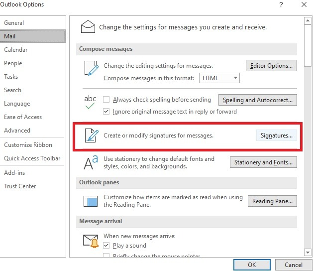 Outlook Signature Desktop Client-Optionen