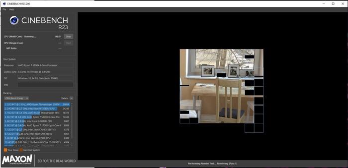 Benchmark-CPU-Cinebench-CPU-Test gestartet