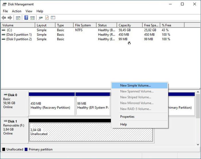 Formatieren von USB-Laufwerken in Win10 Diskman New Simple Volume