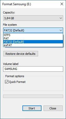 Formatieren von USB-Laufwerken in Win10 Klicken Sie mit der rechten Maustaste auf Dateisystem auswählen