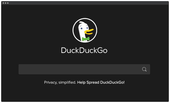 Die DuckDuckGo-Suchmaschine.