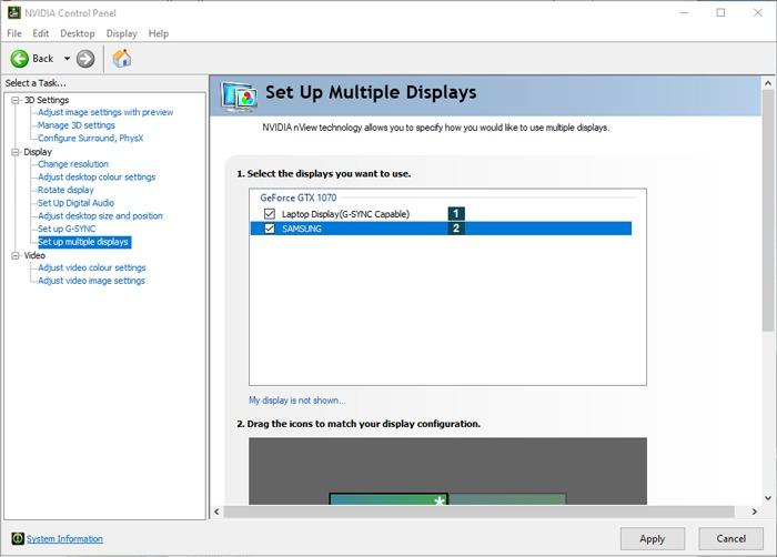 Einrichten der Nvidia-Systemsteuerung für Multi-Monitor-Spiele