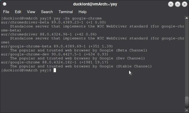 Verwenden Sie Aur In Arch Yay Installieren Sie Google Chrome