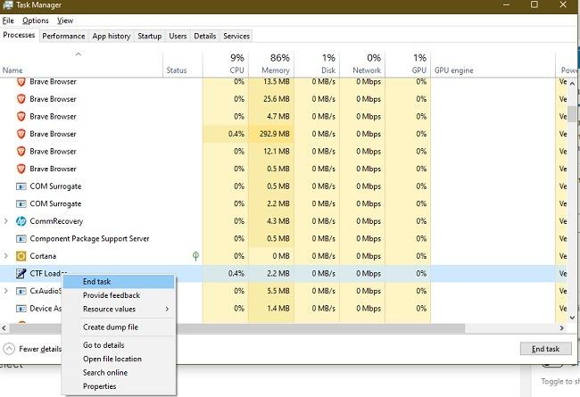 So beheben Sie Ctf Loader-Fehler in Windows 10 Task beenden