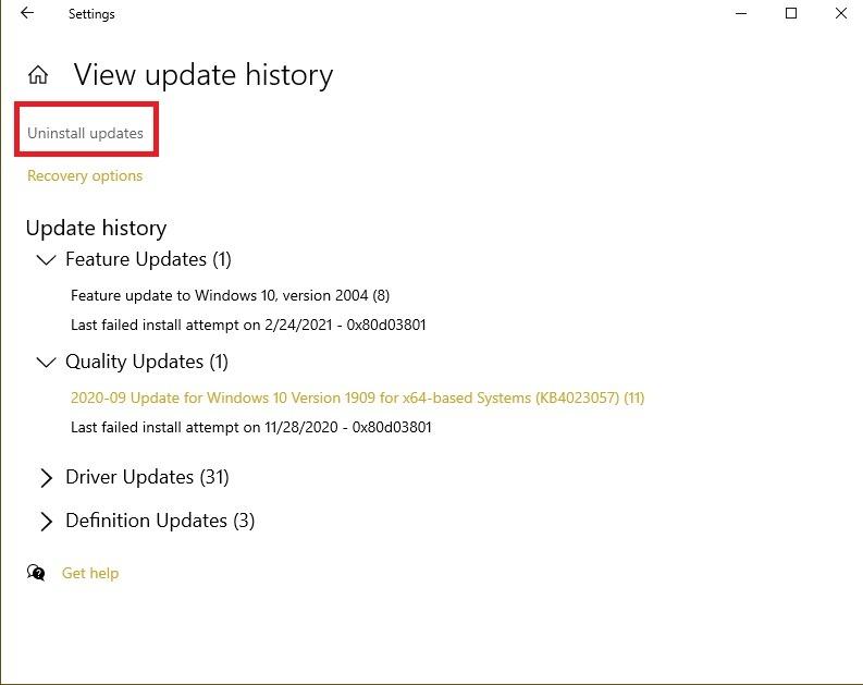 So beheben Sie Ctf Loader-Fehler in Windows 10 Deinstallieren Sie Updates