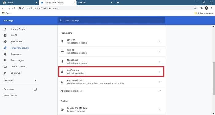 So stoppen Sie Benachrichtigungen zu Chrome-Benachrichtigungen Desktop-Einstellungen