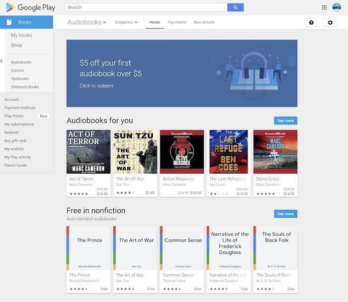 Beste hörbare Alternativen Google Play Books