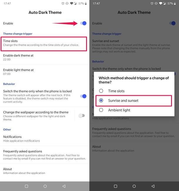 So planen Sie den dunklen Modus Android Automatic Dark Theme App