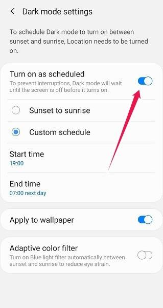 So planen Sie den Dunkelmodus Android Samsung Planen Sie den Dunkelmodus