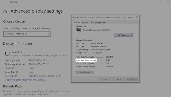 Ermitteln des Videospeichers in Windows.