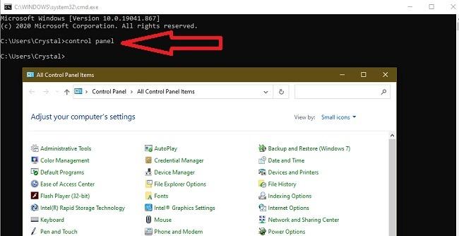 Möglichkeiten zum Öffnen der Systemsteuerung unter Windows 10 Cmd