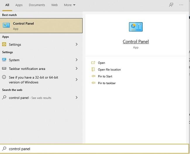 Möglichkeiten zum Öffnen der Systemsteuerung unter Windows 10 Starten Sie die Suche