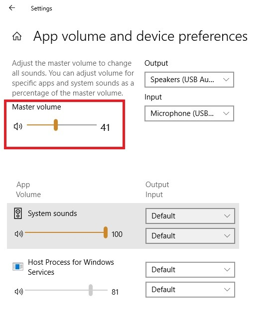 Externes Mikrofon Windows-Einstellungen Master-Lautstärke