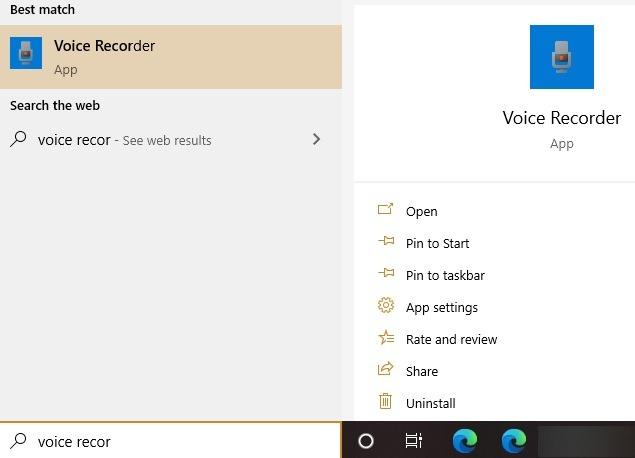 Ext. Mikrofon Windows Voice Recorder-Suche