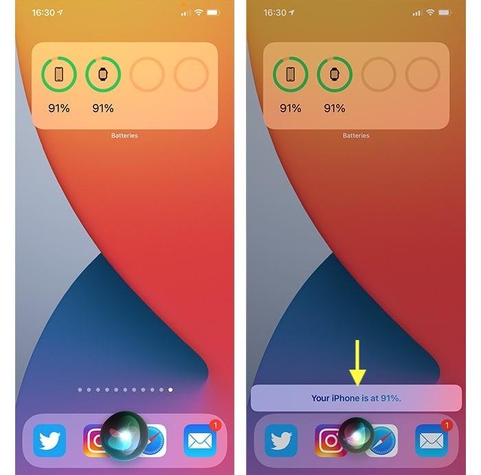 Iphone 12 Akku-Prozentsatz mit Siri