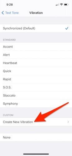 Ausgehende Iphone-Nachricht Vibration erstellen