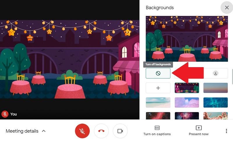 Google Meet-Hintergrund deaktivieren