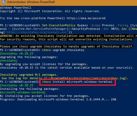 Windows Terminal Chocolatey Installieren von Windows Terminal