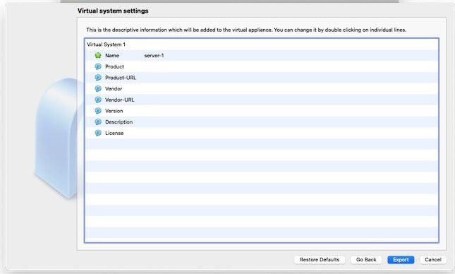 Virtualbox Import Export Ova Export Appliance-Einstellungen