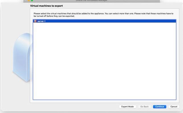 Virtualbox Import Export Ova Export Vm zum Exportieren