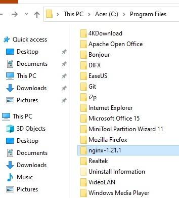 Nginx Windows-Programmdateien