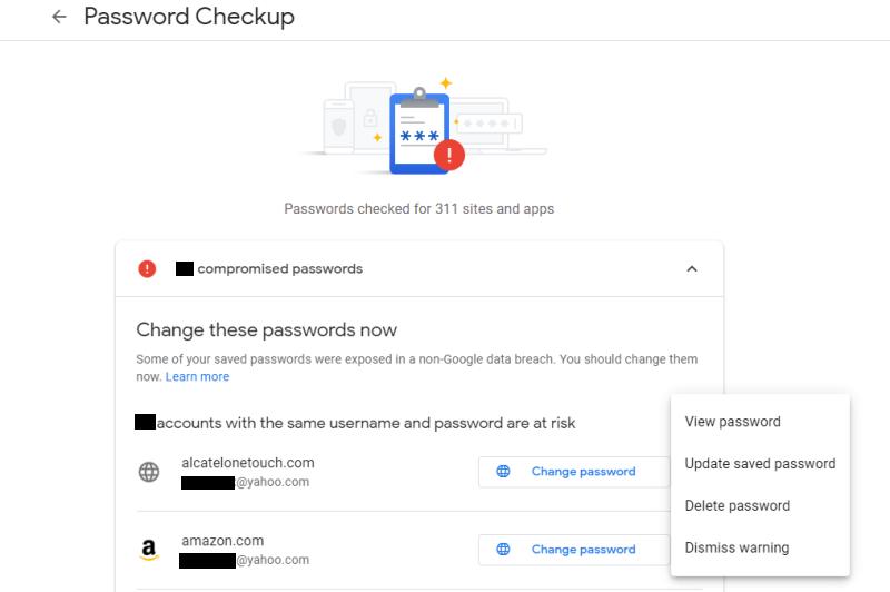 Chrome-Passwortverletzung Klicken Sie auf kompromittierte Passwörter 1