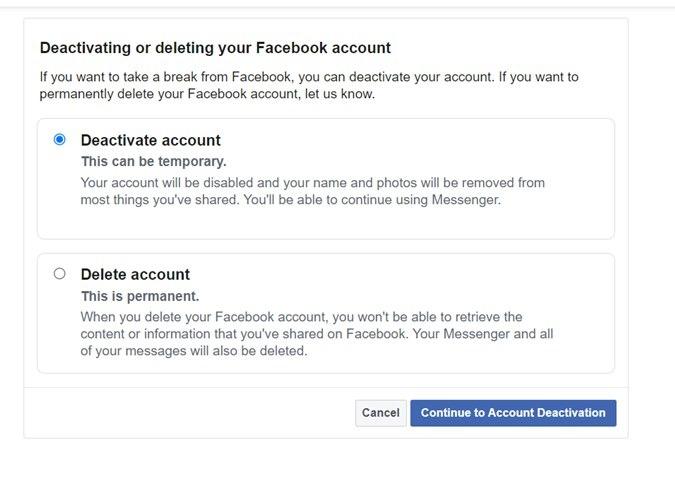 Facebook-Konto löschen oder deaktivieren Bestätigen