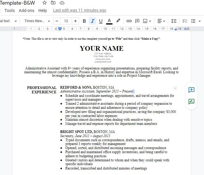 Google Docs-Vorlage Lebenslauf Harvard Bw