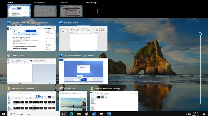 Hintergrundzeitleiste für mehrere Desktops