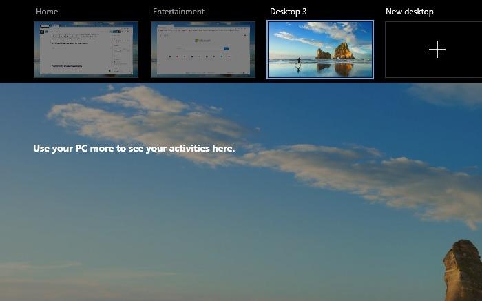 Mehrere Desktops bereinigen den Hintergrund