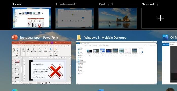Präsentation mit mehreren Desktops