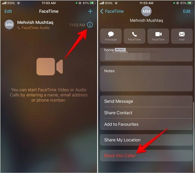 Iphone-Kontakt Facetime blockieren