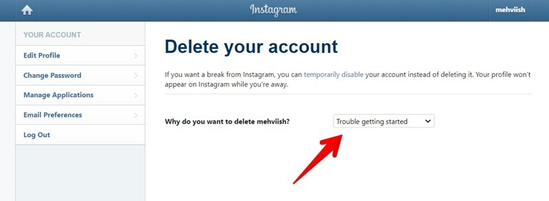 Instagram Account löschen Grund