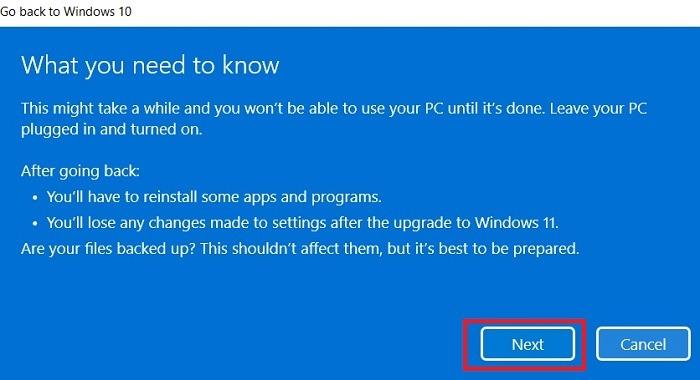 Windows11 Rollback Windows10 Endgültige Warnung