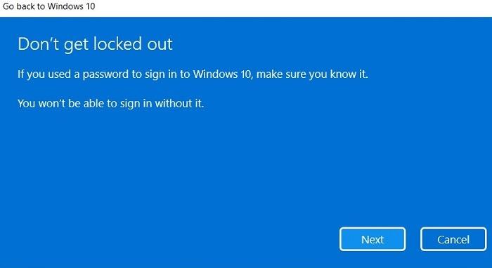 Windows11 Rollback Windows10 Passwortwarnung