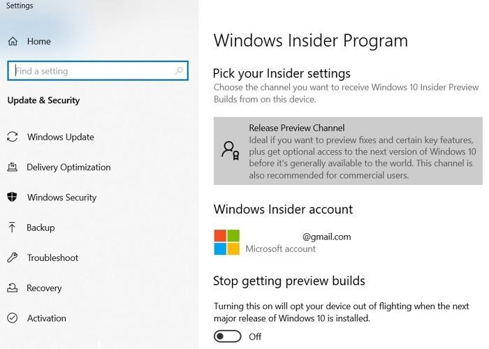 Windows11 Rollback Windows10 Vorschaukanal ausgewählt