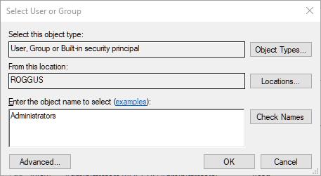 Volle Eigentümerschaft übernehmen Windows-Registrierungsschlüssel Objektname