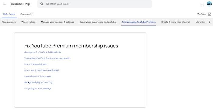 Youtube TV Premium Premium-Hilfe