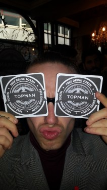 Harry with Topman beer mats