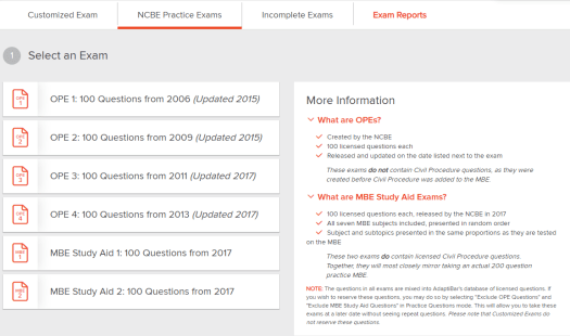 AdaptiBar NCBE practice exams