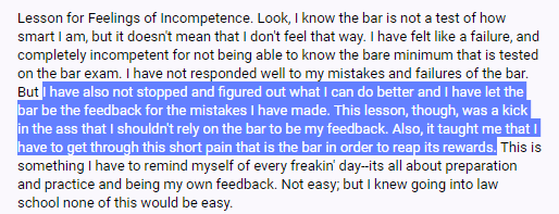 """I have also not stopped, and figured out what I can do better, and I have let the bar be the feedback for the mistakes I have made. This lesson, though, was a kick in the ass that I shouldn't rely on the bar to be my feedback. Also, it taught me that I have to get through this short pain that is the bar in order to reap its rewards."""