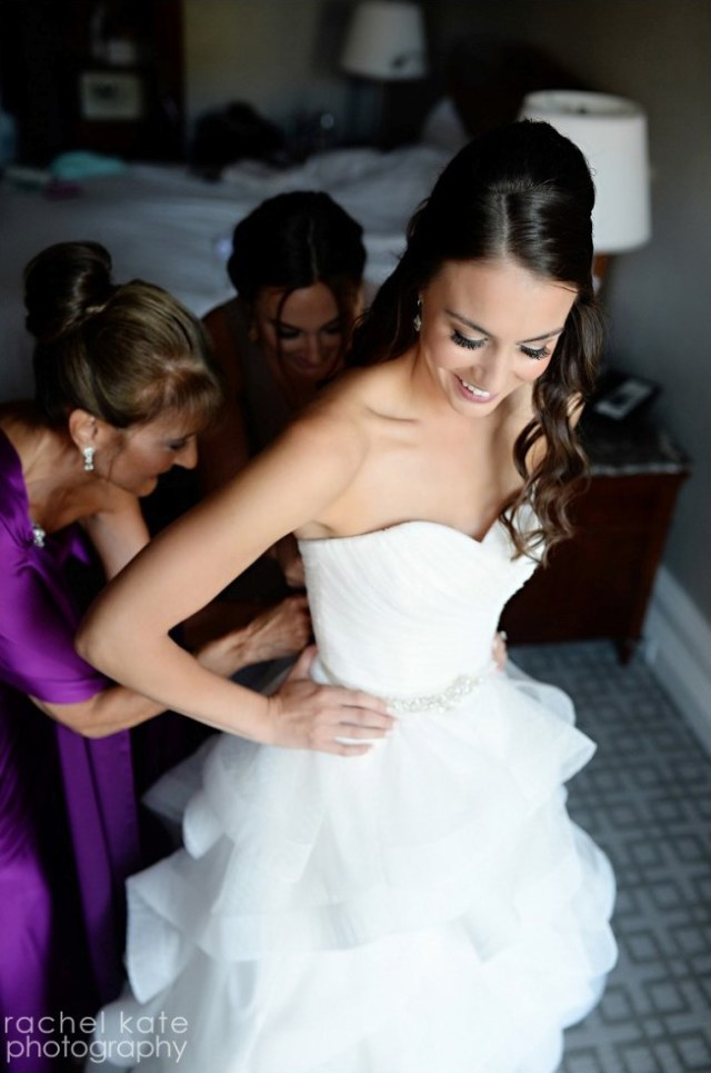 Elegant hair and makeup for Kim's wedding at the Fairmont Copley Plaza in Boston, MA.