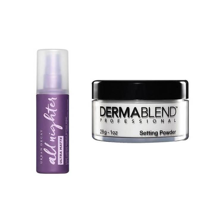 urban decay all nighter ultra matte, dermablend loose setting powder